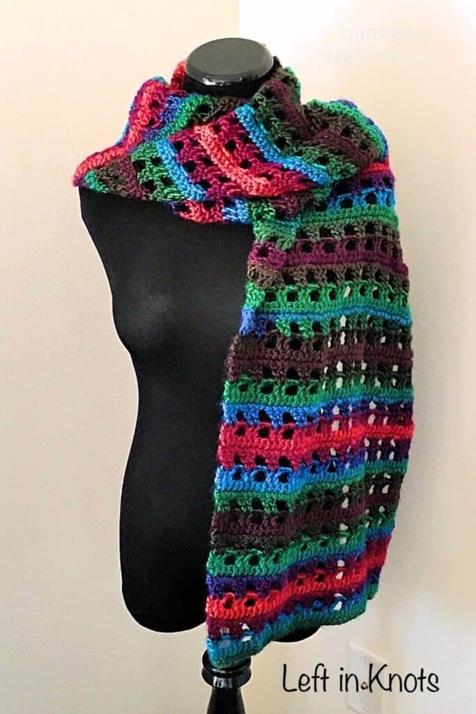 A jewel tone crochet shawl wrap