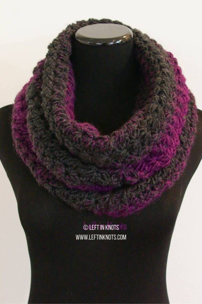 A crochet cowl made with the star stitch