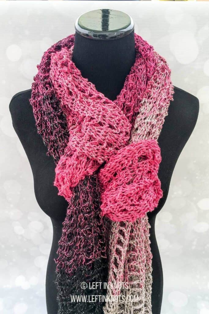A lacy light weight crochet scarf or shawl