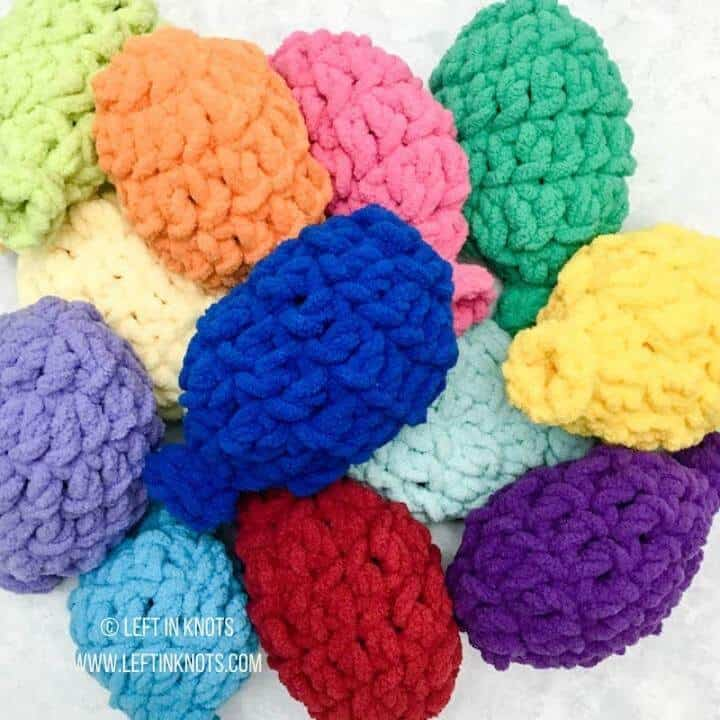 Colorful crochet water balloons