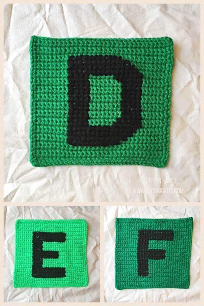 Crochet squares with cross stitched letters D E and F