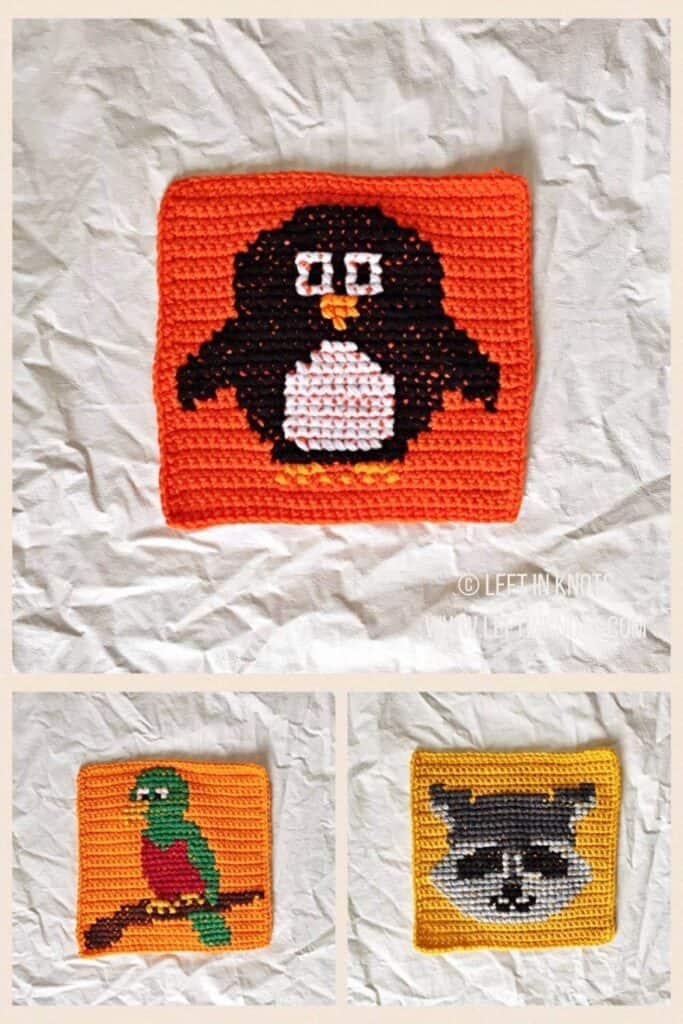 Crochet squares with cross stitched penguin, quetzal, and raccoon
