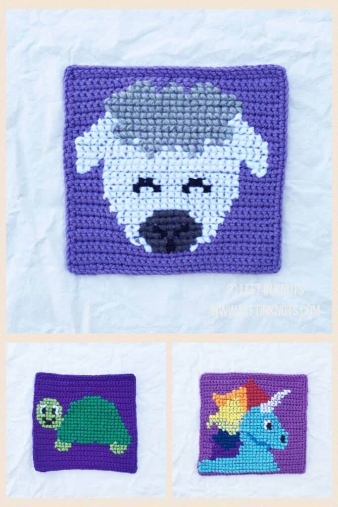 Crochet squares with cross stitched sheep, turtle, and unicorn