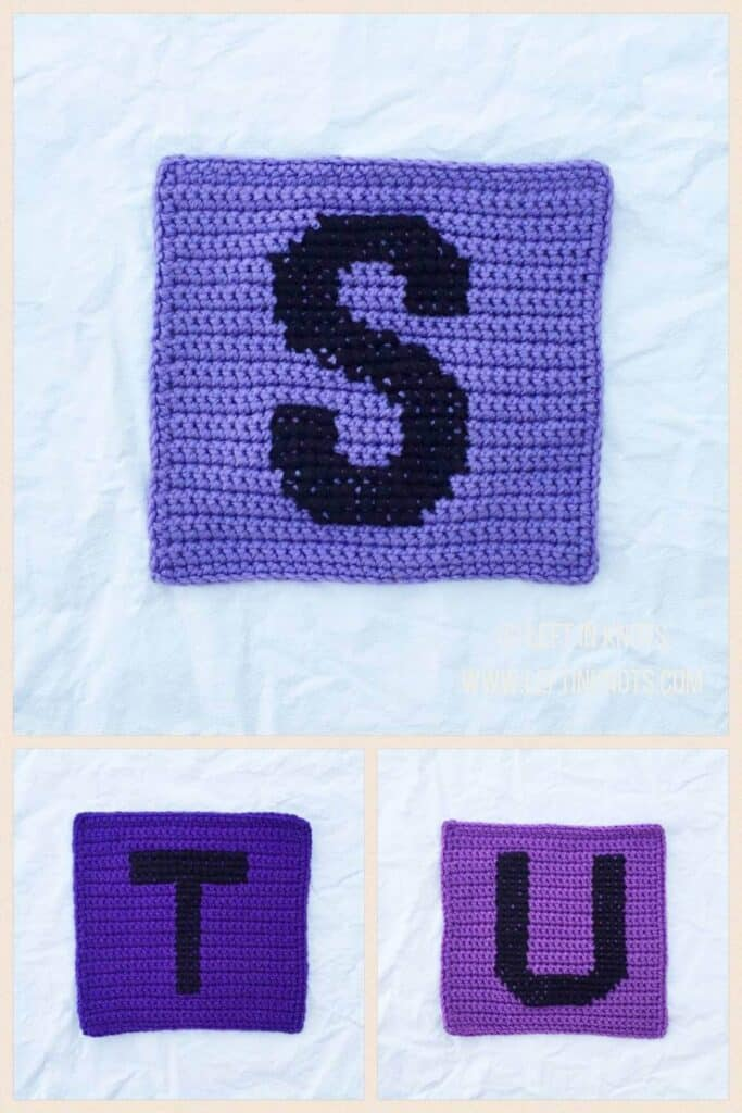 Crochet squares with cross stitched letters S T and U