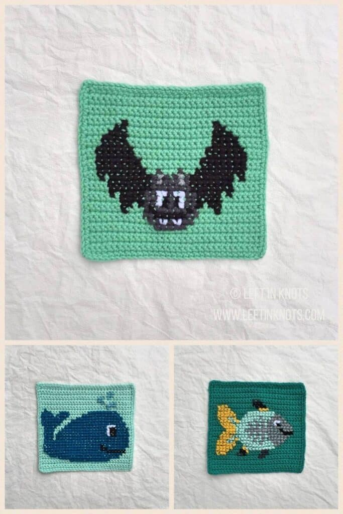 Crochet squares with cross stitched vampire bat, whale, and x-ray fish