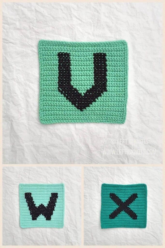 Crochet squares with cross stitched letters V W and X