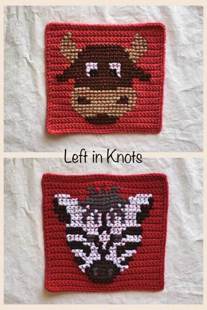 Crochet squares with cross stitched yak and zebra