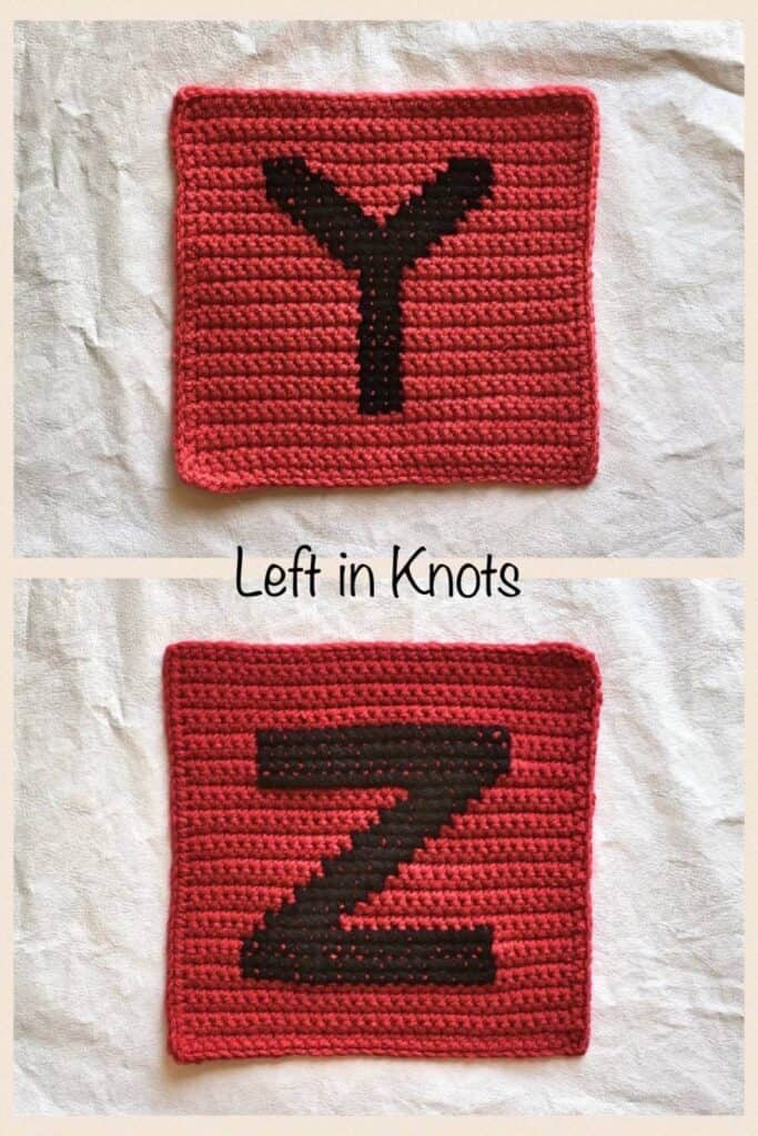 Crochet squares with cross stitched letters Y and Z