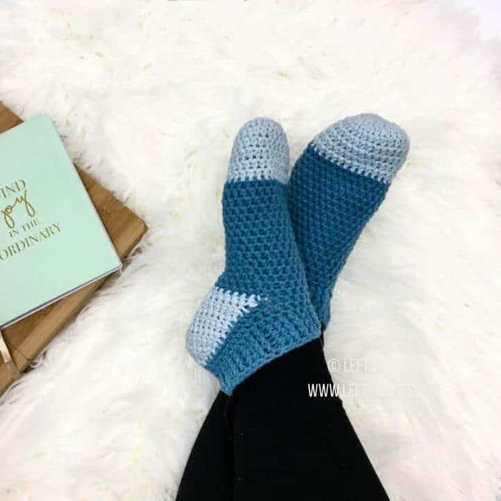 Crochet slipper socks made with soft yarn