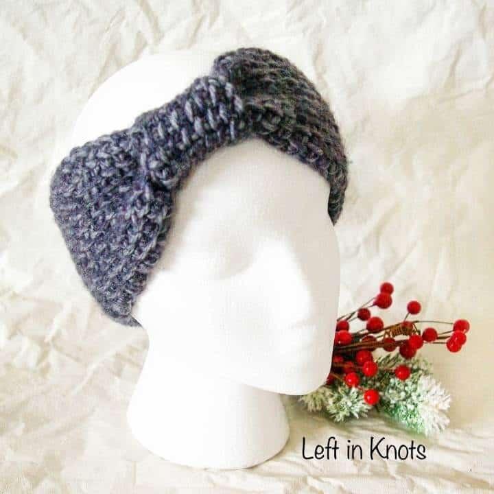 an ear warmer made with Tunisian crochet