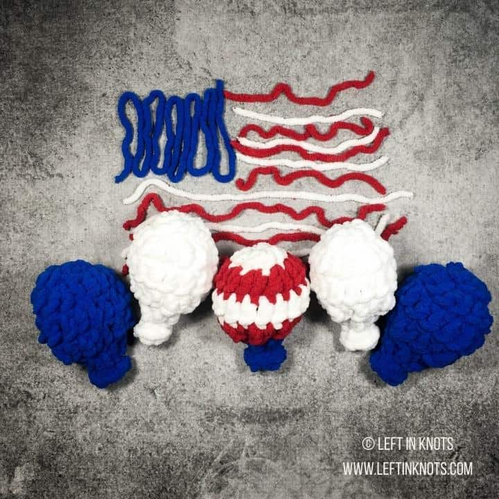 Red white and blue reusable crochet water balloons