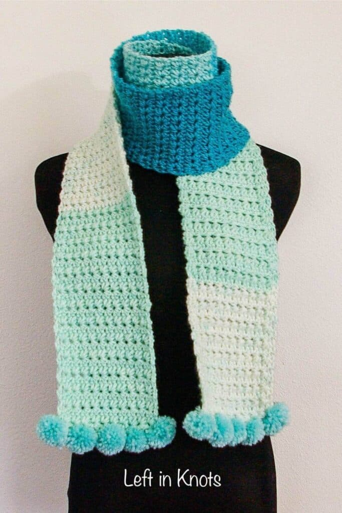 A skinny crochet scarf made with the star stitch
