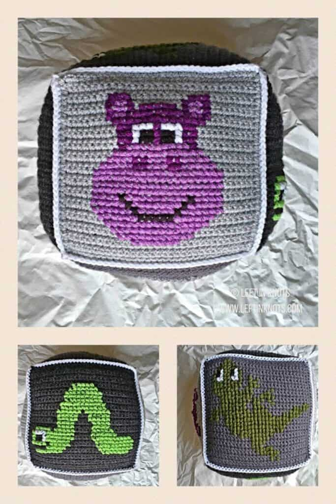 Crochet squares with cross stitched gecko, hippo, and inchworm