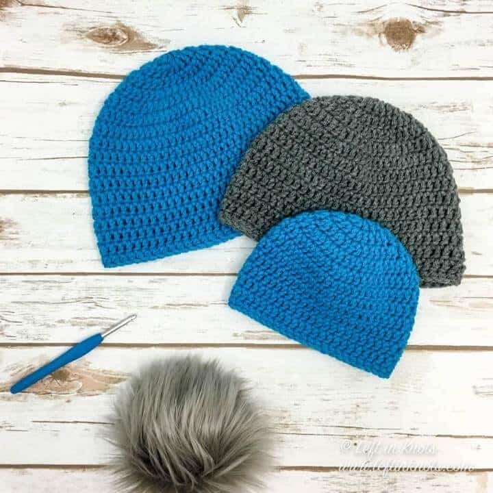 Crochet beanies made with the DC stitch in 10 sizes