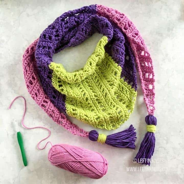 A light weight triangle scarf made with filet crochet