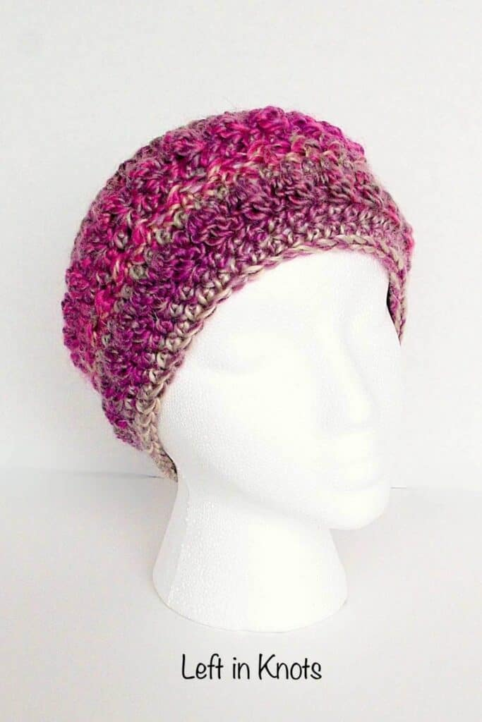 A crochet ear warmer made with one skein of yarn