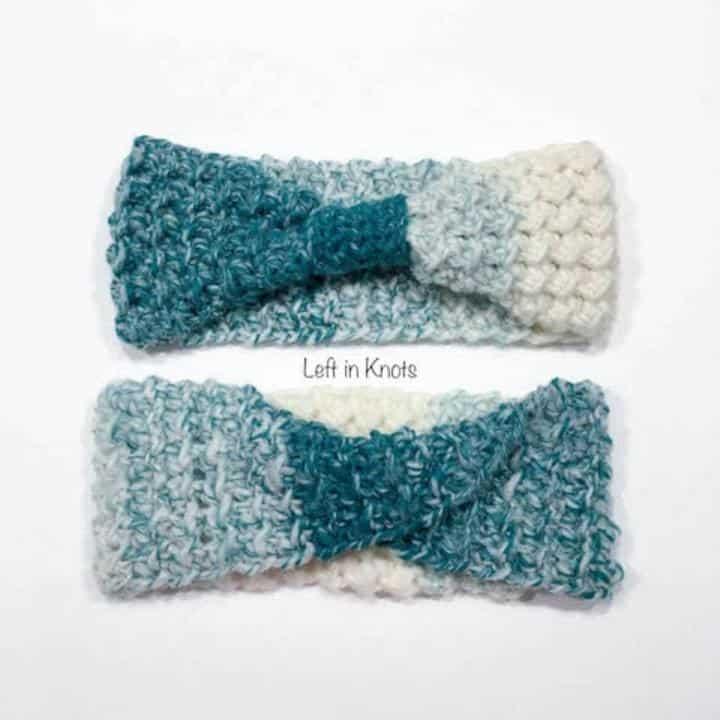 Two crochet ear warmers in different styles