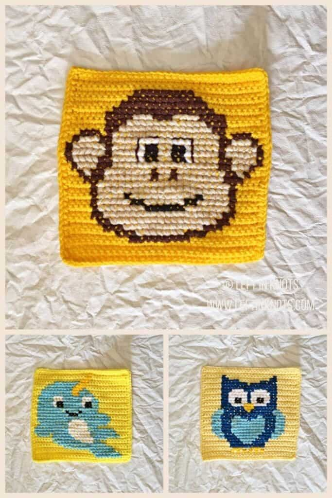 Crochet squares with cross stitched monkey, narwhal, and owl