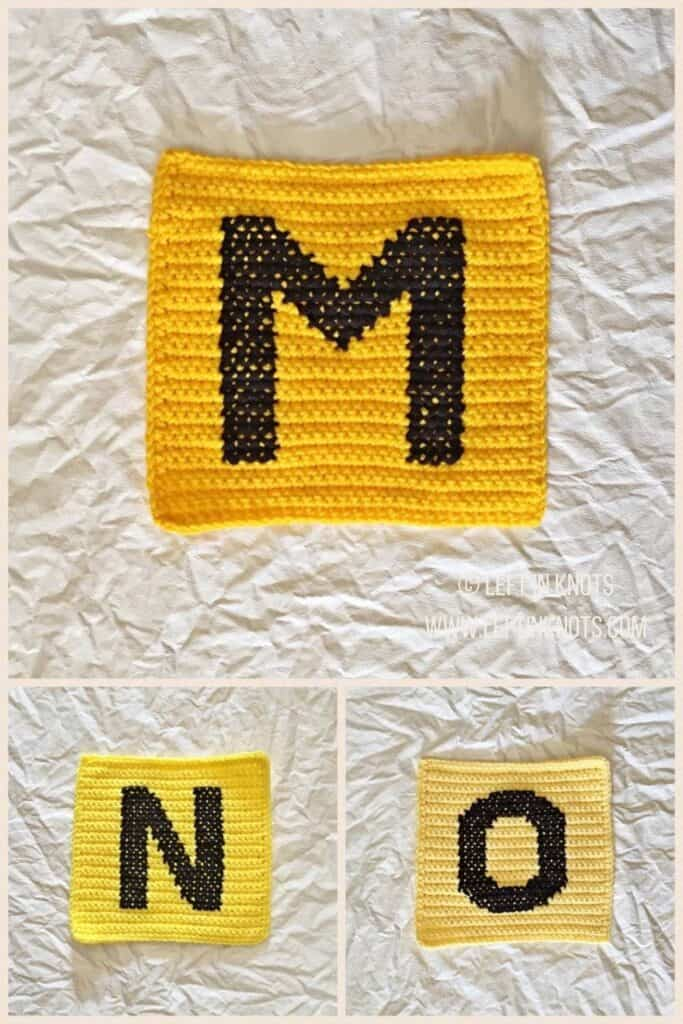 Crochet squares with cross stitched letters M N and O