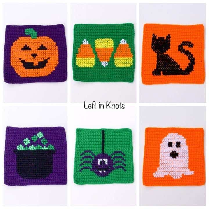 Crochet Halloween Squares for a Jack-o-lantern, candy corn, black cat, cauldron, spider and ghost