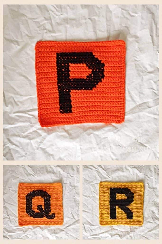 Crochet squares with cross stitched letters P Q and R