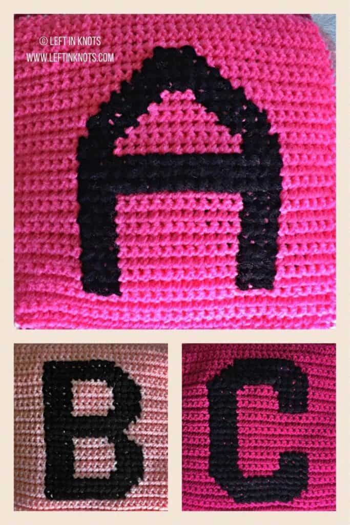 Crochet squares with cross stitched letters A B and C