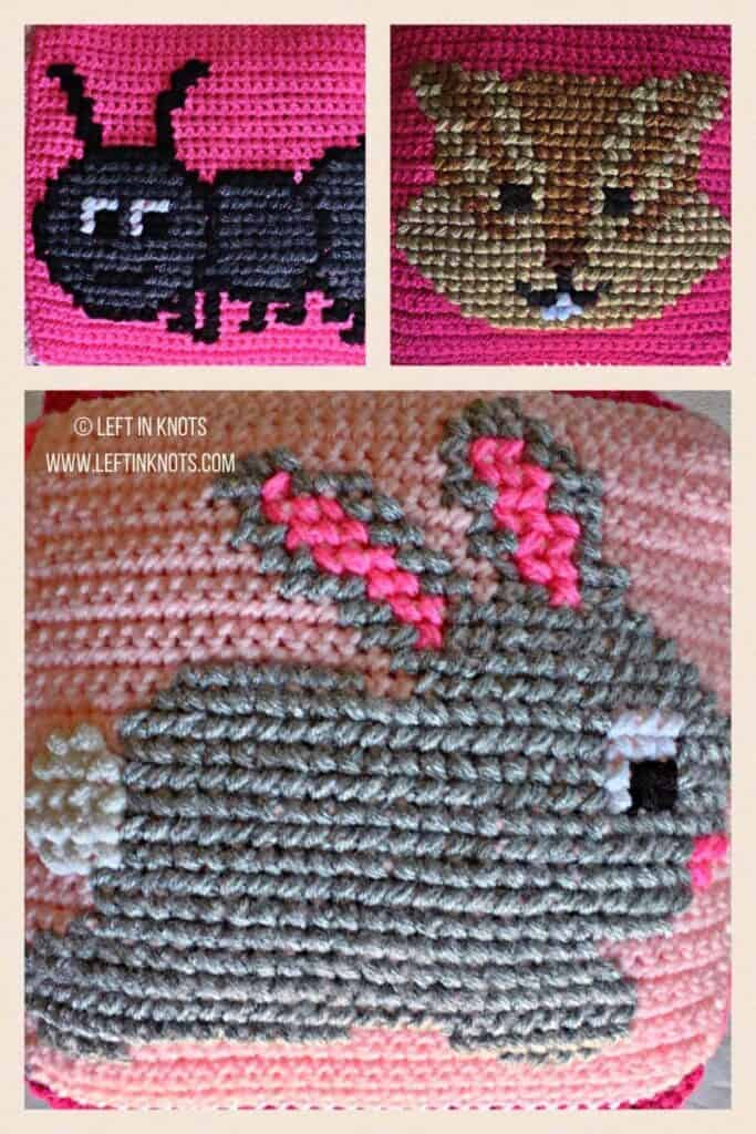 Crochet squares with cross stitched bunny, ant and chipmunk