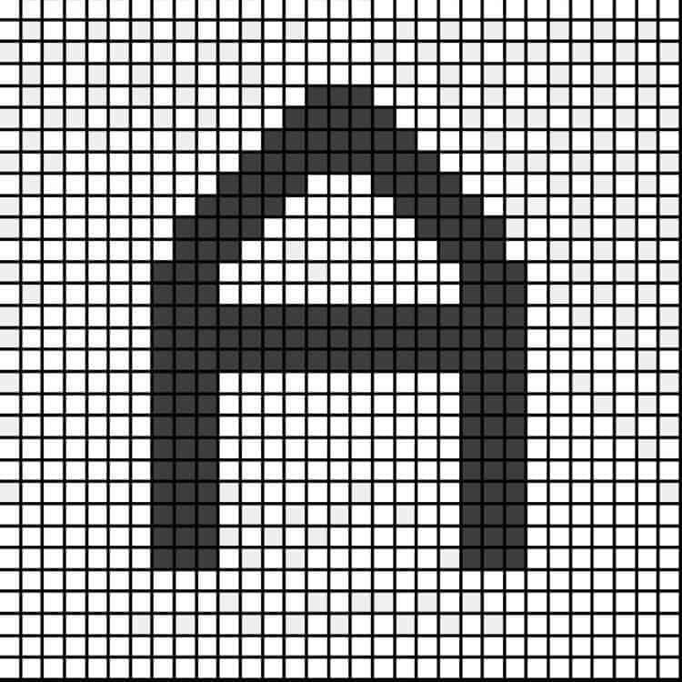 Pixel chart letter A