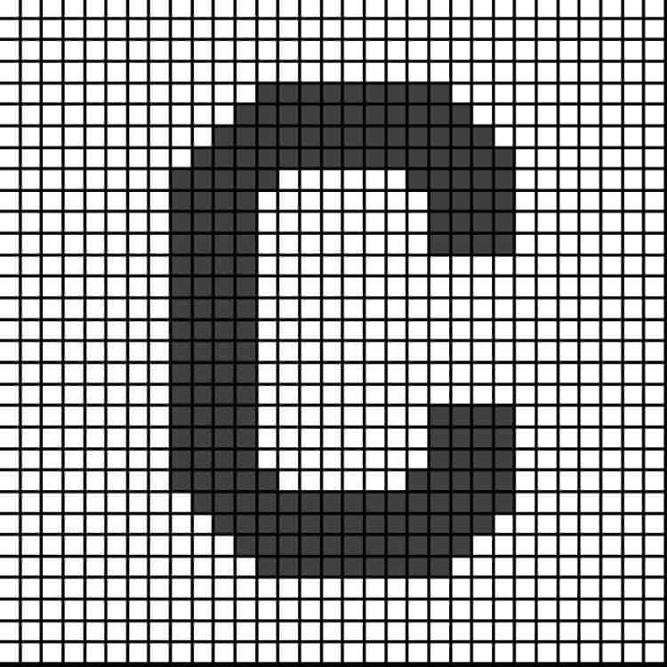 Pixel graph letter C