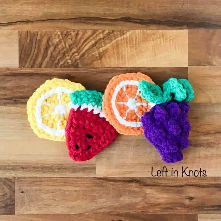 Crochet fruit bath toys