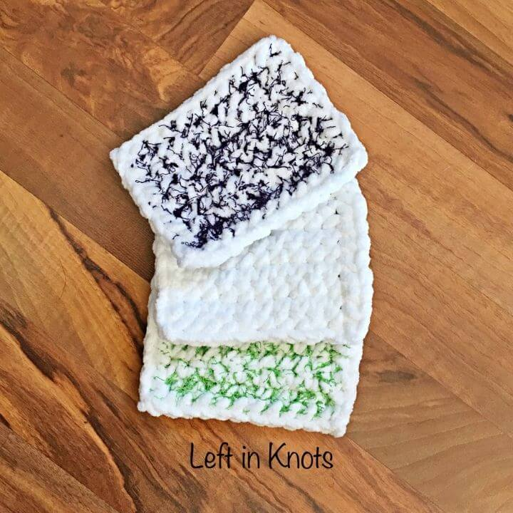 Three reusable crochet sponges made with scrubby yarn