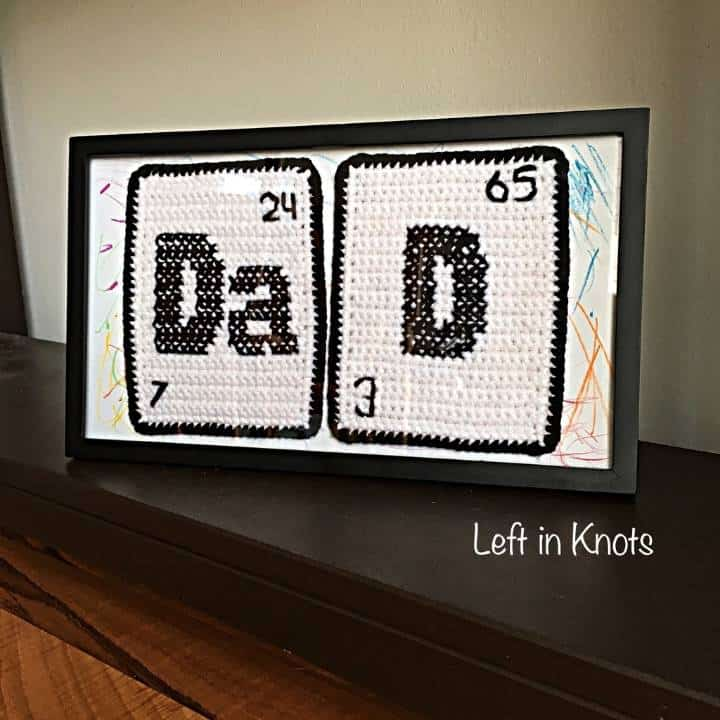 Crochet father's day gift in a frame