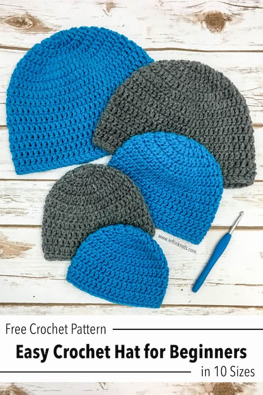 Easy Crochet Beanies shown in 5 different sizes