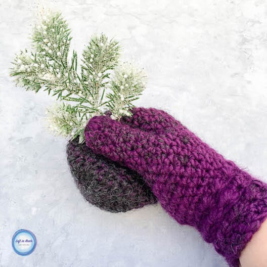 Crochet mittens made with Lion Brand yarn and the star stitch