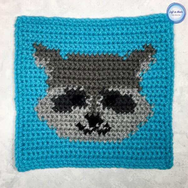 A crochet raccoon square