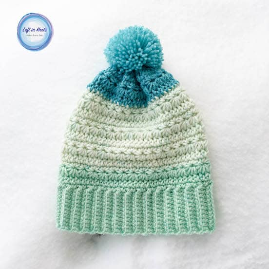 A crochet beanie made with Caron Cakes yarn and the star stitch