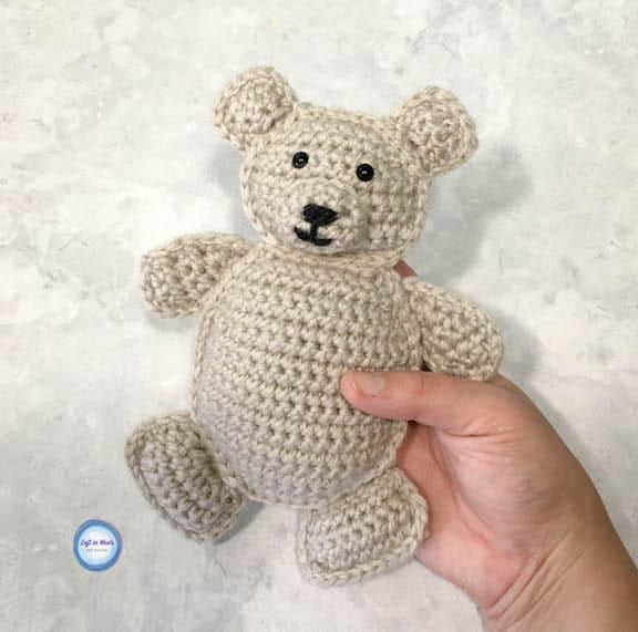 A small crochet ragdoll style teddy bear in two sizes