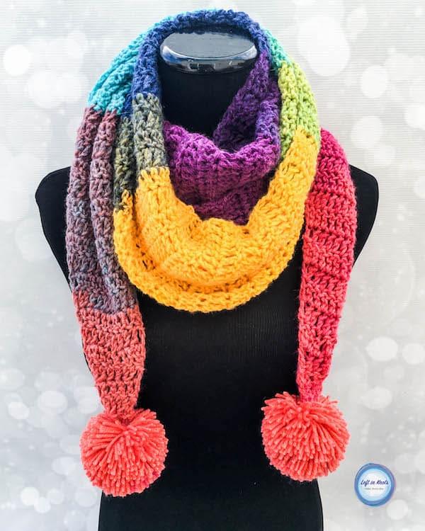 A rainbow crochet scarf made with one skein of Lion Brand Mandala yarn