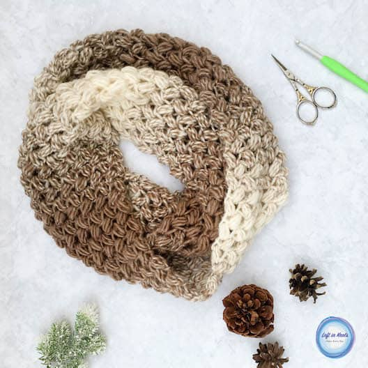A crochet infinity scarf made with one skein of yarn and the bean stitch