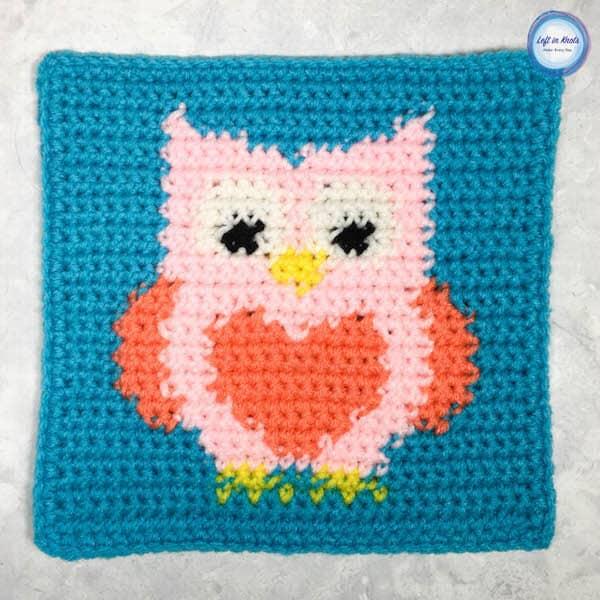 A crochet owl square