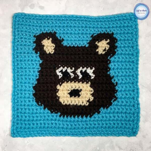 A crochet bear square