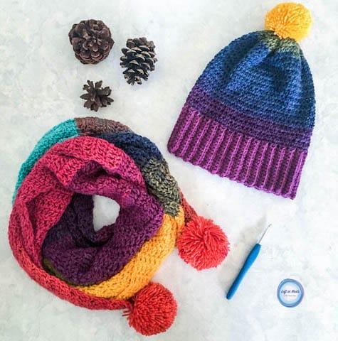 A rainbow crochet beanie made with Lion Brand Mandala yarn