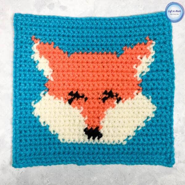 A crochet fox square