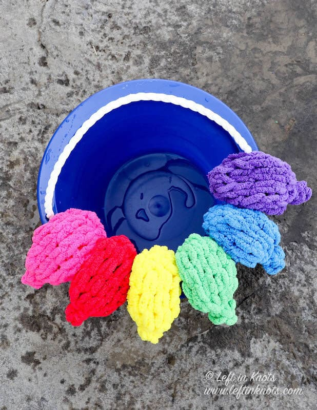 Rainbow colored finger knit reusable water balloons