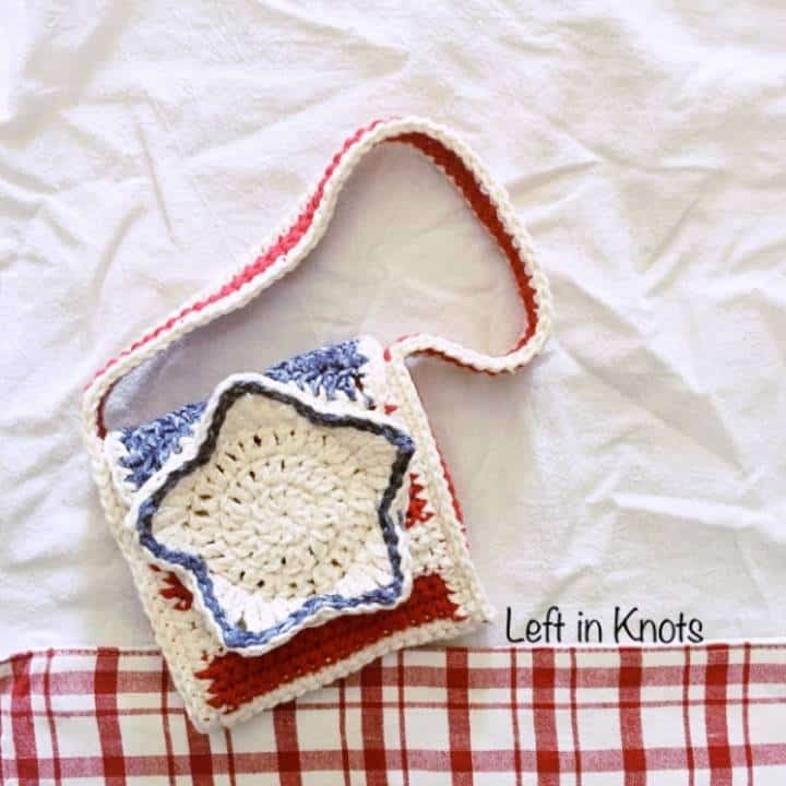 A crochet cotton stars and stripes purse