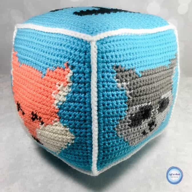 A crochet forest animal block