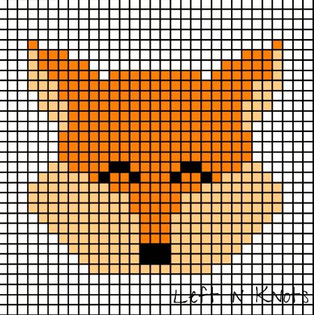 A pixel chart of a fox