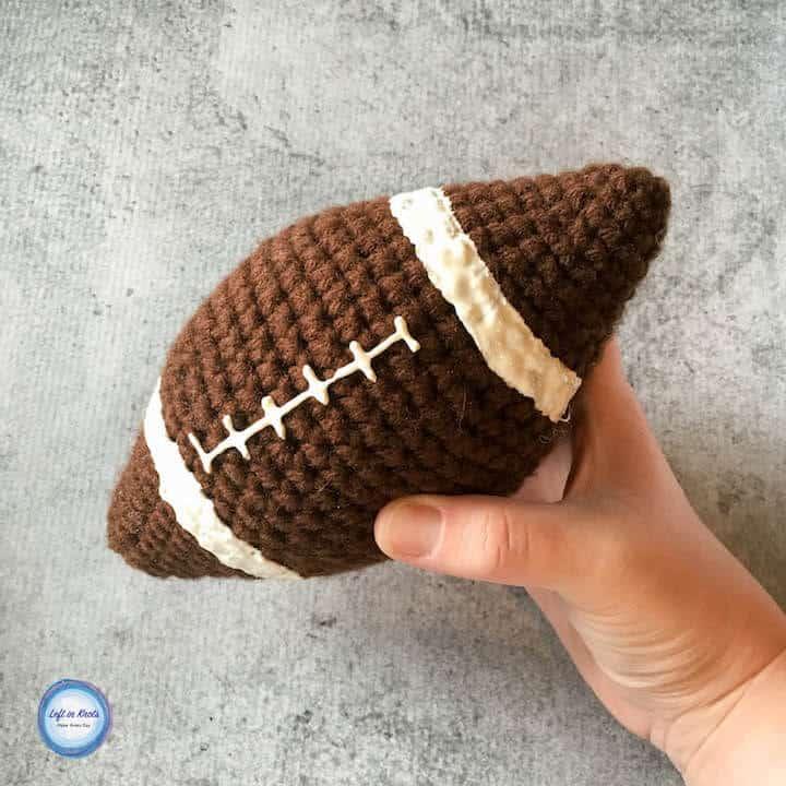 A stuffed crochet football