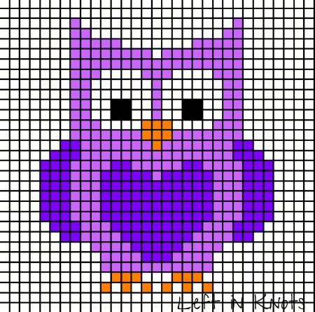 A pixel chart of an owl