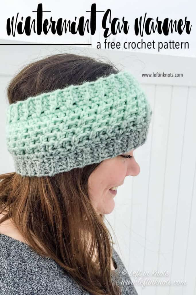 A mint and gray crochet ear warmer made with Lion Brand Scarfie